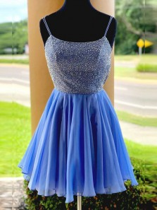 Charming Beading A-Line Scoop Neck Open Back Blue Chiffon Short Homecoming Dresses,Short Prom Dresses 190729005