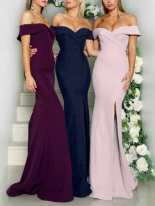 Simple Mermaid Off the Shoulder Burgundy Elastic Satin Long Bridesmaid Dresses with Side Split