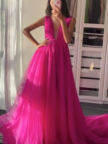 Chic A-Line Plum Rose Red Tulle Long Prom Dress Formal Evening Party Dresses