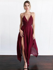 Chic A-Line Spaghetti Straps Criss-Cross Burgundy Chiffon Long Prom Dresses with Side Split,Evening Party Dresses