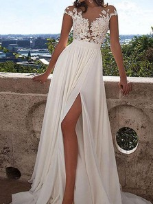 Elegant A-Line Jewel Cap Sleeve White Chiffon Long Wedding Dresses with Side Split