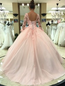 Princess Ball Gown V Neck Long Sleeve Open Back Pink Lace Long Prom Dresses,Quinceanera Dresses