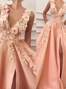Unique A-Line V Neck Orange Satin Long Prom Dresses with Floral Appliques,Quinceanera Dresses
