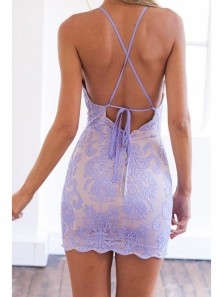 Sexy Bodycon Halter Cross Back Lavender Lace Cocktail Party Dresses,Evening Dresses