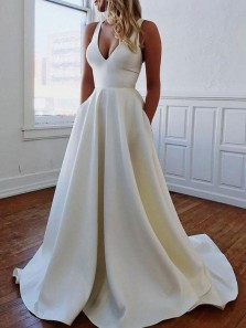 Simple A-Line V Neck Open Back Ivory Satin Wedding Dresses with Bow-knot