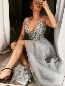 Luxurious A-Line V Neck Open Back Gray Tulle Long Prom Dresses with Beading,Formal Party Dresses
