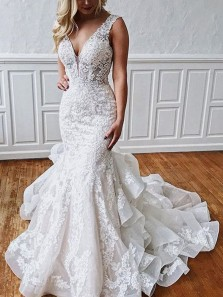 Stunning Mermaid V Neck Backless Ivory Lace Wedding Dresses with Train
