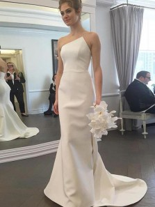Unique Mermaid Irregular Neck Open Back Ivory Satin Long Wedding Dresses