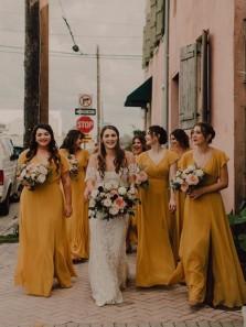 Elegant A-Line V Neck Cap Sleeves Chiffon Long Bridesmaid Dresses