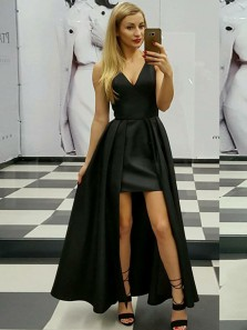 Gorgeous V Neck Black Satin Long Prom Dresses, Vintage Cocktail Dresses