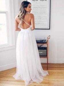 Simple A-Line Deep V Neck Criss-Cross Back White Wedding Dresses,Beach Wedding Dresses