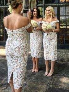 Unique Sheath Off the Shoulder White Lace Bridesmaid Dresses with Split
