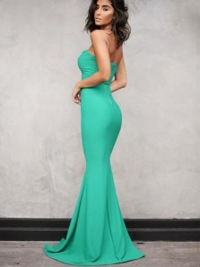 Simple Mermaid Sweetheart Open Back Green Elastic Satin Long Prom Dresses,Sexy Evening Party Dresses