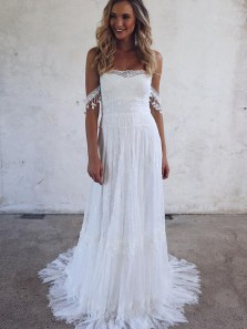 Unique A-Line Off the Shoulder Open Back White Lace Wedding Dresses with Train