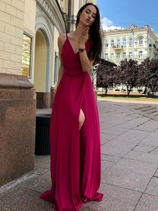 Simple A-Line V Neck Spaghetti Straps Open Back Dark Red Chiffon Long Prom Dresses Under 100,Evening Party Dresses