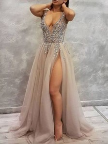 Sexy A-Line Deep V Neck Open Back Grey Tulle Long Prom Dresses with Beading,Formal Party Dresses