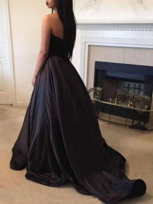 Modest Ball Gown Sweetheart Open Back Black Satin Long Prom Dresses with Beading,Evening Party Dresses