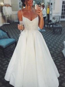 Simple A-Line V Neck Spaghetti Straps Open Back White Satin Beach Wedding Dresses with Lace