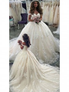 Ball Gown Off the Shoulder Ivory Lace Wedding Dresses with Train,Bridal Gown