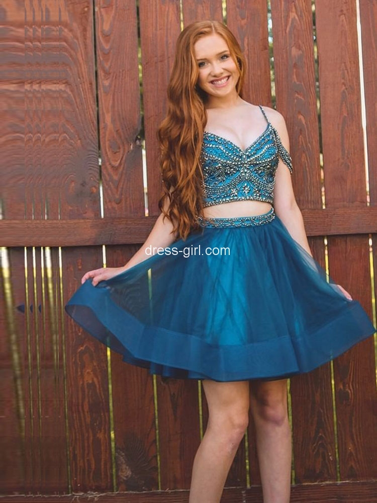cd7afd9747 Cute A-Line Two Piece Spaghetti Straps Peacock Blue Short Homecoming  Dresses with Beaded