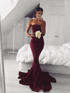 Modest Mermaid Strapless Burgundy Elastic Satin Long Prom Dresses with Train,Evening Party Dresses