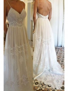 Bohe A-Line V Neck Spaghetti Straps Backless Ivory Lace Wedding Dresses,Beach Wedding Dresses