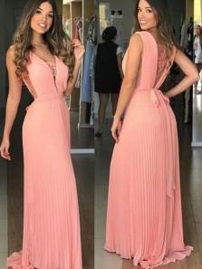 Modest A-Line V Neck Coral Chiffon Long Prom Dresses with Belt Appliques,Elegant Party Dresses