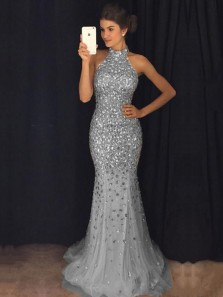 Elegant Mermaid Halter Backless Grey Gold Beading Long Prom Dresses,Evening Party Dresses 191111006