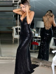 Sparkly Mermaid V Neck Cross Back Black Sequins Long Prom Dresses,Evening Party Dresses