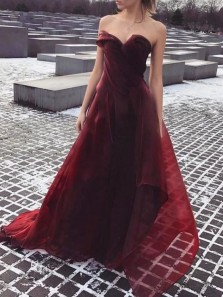 Gorgeous A-Line Sweetheart Open Back Burgundy Organza Long Prom Dresses,Formal Party Dresses