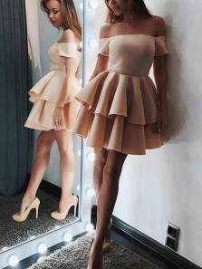 Chic A-Line Off the Shoulder Short Sleeve Light Champagne Satin Tiered Short Prom Dresses,Homecoming Dresses 2020,Evening Party Dresses