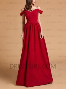 Cheap A-Line Off the Shoulder Red Satin Long Prom Dresses