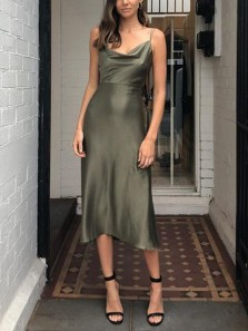 Chic Sheath Cowl Neck Hunter Green Silk Satin Midi Bridesmaid Dresses,Wedding Guest Party Dresses Under 100