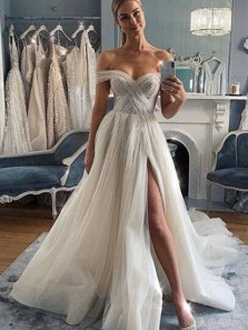 Charming A-Line Off the Shoulder Ivory Tulle Wedding Dresses with High Slit