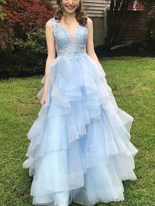 Ball Gown V Neck Sky Blue Tulle Long Prom Evening Dresses with Appliques