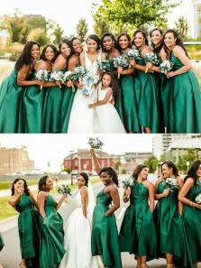 Charming A-Line Halter Green Satin Midi Bridesmaid Dresses with Pockets Under 100