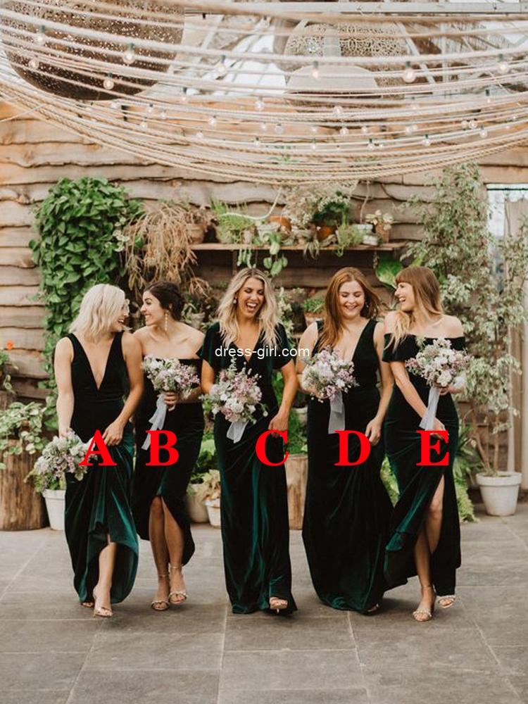 Beautiful Sheath Off the Shoulder Hunter Green Velvet Long Bridesmaid Dresses