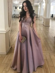 Elegant A-Line Scoop Blush Satin Long Prom Dresses with Beading,Vintage Evening Party Dresses