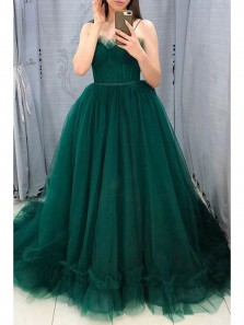 Cute A-Line Sweetheart Open back Dark Green Tulle Prom Dresses,Girls Junior Graduation Gown