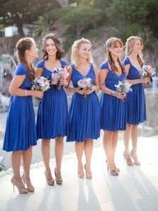 Simple A-Line V Neck Royal Blue Chiffon Short Bridesmaid Dresses Under 100