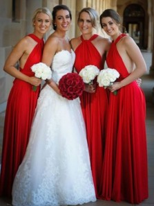 Gorgeous A-Line Halter Backless Red Chiffon Long Bridesmaid Dresses Under 100