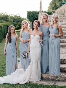 Elegant Sheath One Shoulder Open Back Blue Chiffon Long Bridesmaid Dresses with Side Split