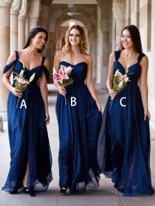 Elegant A-Line Sweetheart Open Back Navy Blue Chiffon Long Bridesmaid Dresses