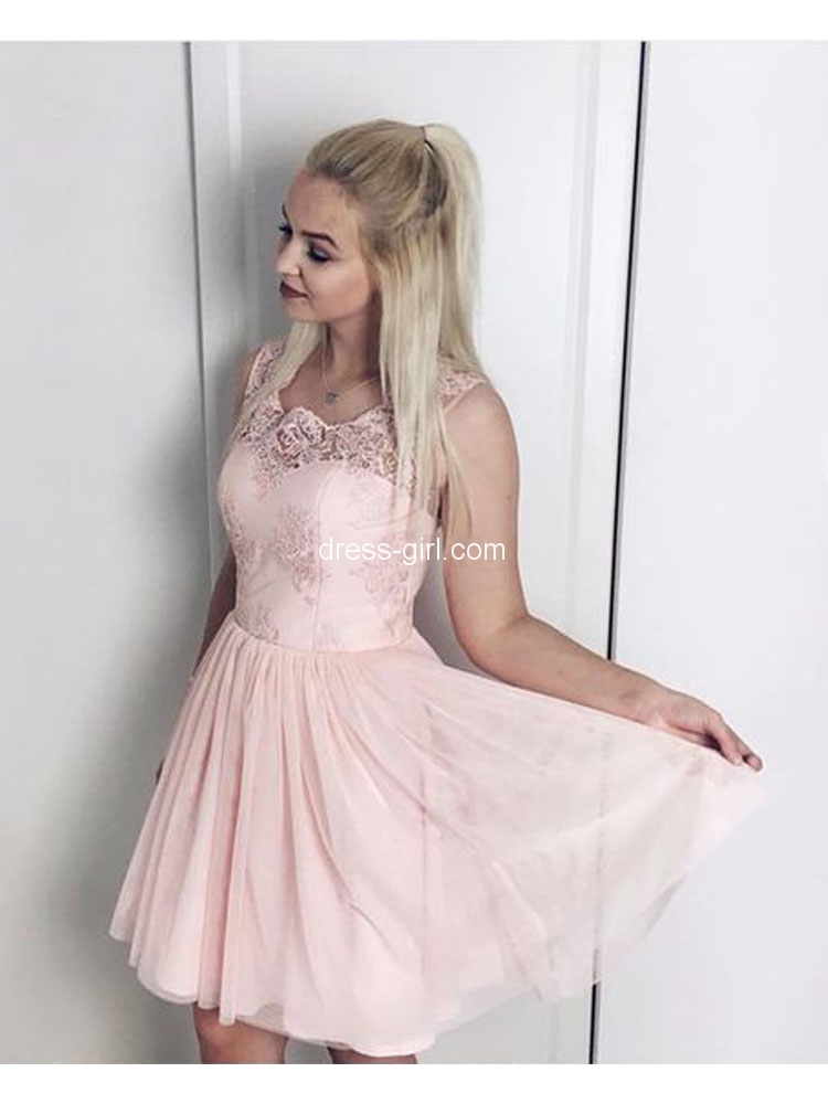 897d85273cd Cute A-Line Round Neck Pink Chiffon Short Homecoming Dresses with Appliques,Chic  Cocktail Party Dresses DG8036