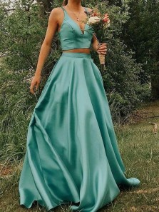 Unique Two Piece V Neck Sage Satin Long Prom Dresses with Pockets,Formal Evening Party Dresses