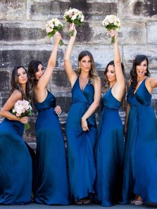 Sheath V Neck Royal Blue Long Bridesmaid Dresses Under 100