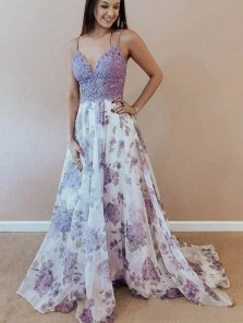 Gorgeous A-Line V Neck Lilac Floral Printed Chiffon Prom Dresses with Lace Top