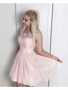 Cute A-Line Round Neck Pink Chiffon Short Homecoming Dresses with Appliques,Chic Cocktail Party Dresses DG8036