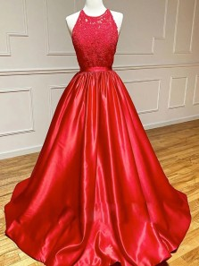 Charming A-Line Halter Open Back Red Satin Lace Long Prom Evening Dresses