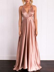 Elegant A-Line V Neck Open Back Blush Satin Long Prom Dresses,Formal Party Dresses Under 100